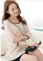2014 new fashion women blouse o-neck ruffle sweep plus size top lace patchwork chiffon bow shirt female basic shirt