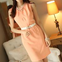 2014 summer women dresses basic placketing slim hip pleated tank slim sleeveless chiffon  vest dress plus size with belt