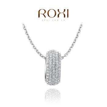 Roxi брендовое роскошное женское колье ручной работы изготовлено из белого золота с трех разовым золотым напылением, украшено кулоном сроссыпью австрийских драгоценных камней, оригинальный дизайн