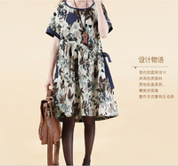 New 2014 Fashion Women summer Dress Casual O-Neck Short-Sleeve Cotton+Linen Loose Print Dress Pregnant Woman Dress