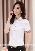2014 summer Women's slim chiffon top beading shirt women's short-sleeve shirt female rivet patchwork plaid plus size