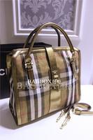 2014 New classical plaid gold canvas women handbag fashion brand shoulder bag women messenger bags free shipping