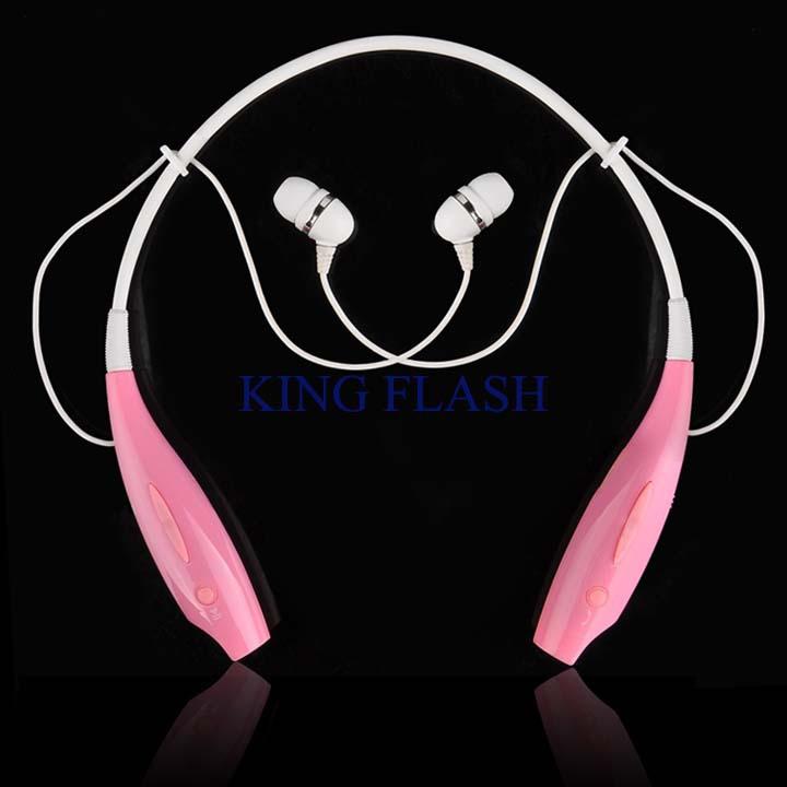 2pcs/lot 2014 New Brand Universal Wireless Bluetooth Stereo Headset Speakers Surround Neckband Style Pink Headphone SV000246(China (Mainland))