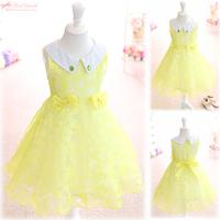 Free shipping 2014 new  summer girl dress knee-length bow lace Princess dress sundress ball grown yellow pink color