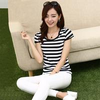 Free Shipping 2014 new large size  striped short-sleeved women's T-shirt Sau San  round neck primer shirt