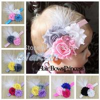 Baby Girl Headband Shabby Flower Hair Bow Toddler Newborn Feathers Headband Kids Hair Accessories 10pcs HBD07