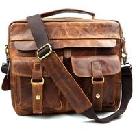 First Layer cowhide vintage men's  shoulder bags Laptop Bags Dark Brown crazy horse totes men messenger bags Brand Designers