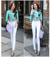 2014 Hot Fashion Ladies/Female Cotton Denim high waist jeans korean style white black pencil trousers jeans