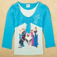 FREE SHIPPING F5079# 18m/6y NOVA kids wear 2014 girl's fashion Spring clothing applique  baby girl long sleeve T-shirts