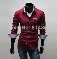 2014 New Casual Blouse Slim Fit Pocket Stylish Hot Dress Shirts Long Sleeve Men Shirt Free Shipping