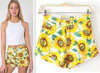 New Fashion 2014 Summer/Fall Sunflowers Print high waist shorts Women Denim Sexy Shorts Yellow Free Shipping