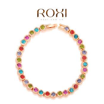 Roxi стильный женский браслет ручной работы, изготовлен из белого и розового золота с трех разовым золотым напылением (позолота), украшен яркими австрийскими кристаллами. 2 цвета