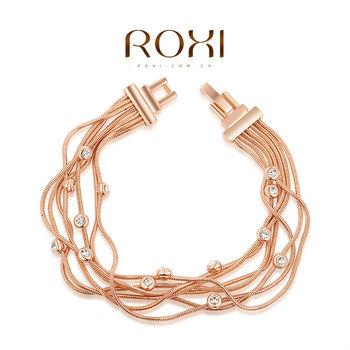 Roxi стильный женский браслет ручной работы, изготовлен из белого золота с трех разовым золотым напылением (позолота), украшен яркими австрийскими кристаллами,интересный дизайн,длина 18см