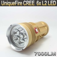 10PCS/LOT UniqueFire 6x Cree XM-L L2 7000Lm LED Flashlight Torch Light Lamp UF-V10-6 (Gold )