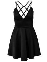 MC17981 New Fashion Free Shipping M,L Size Deep V Neck Open Back Women Sexy Black Casual Summer Dresses