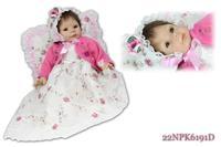 "22"" Very soft silicone vinyl reborn baby doll girl lying handmade fashionable baby gift"
