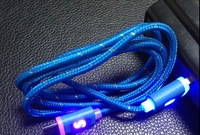 500pcs 1M v8 5pin Nylon Fabric Braided LED Light UP Micro USB Cable Chargr Adapter for Samsung S3 S4 for Blackberry