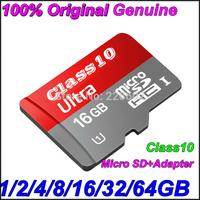 Micro sd card 100% Original Genuine Brand full Capacity2GB4GB 8GB 16GB 32GB 64GB TF card class10Memory card+adapter freeshipping