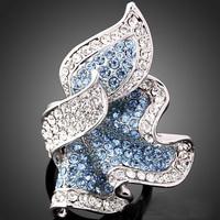 Great Quality Platinum Plated Blue Austria Crystal Leaf Shape Woman Bridal Ring