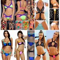 Beachwear New 2014 Bandage Bikinis Set Retro Push Up Bikini Bottom Neon Monokini Sexy Brand Swimwear Vintage Swimsuit For Women