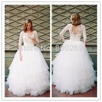 SF-12 Elegant Sweetheart A-line Long Sleeves body beading & skirt tulle Floor-Length Custom-made  Ball Gown dresses 2015