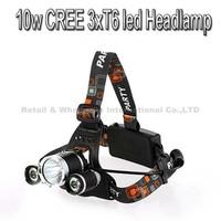 10PCS/LOT 5000 Lumen Super Bright 3X CREE XML T6 LED Headlamp Headlight 18650 LED Head Light Lamp with 4 Modes