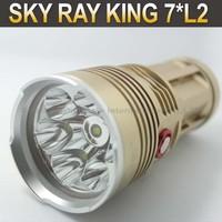 10PCS/LOT Sky-Ray King Bright 6000 Lumen 7x CREE L2 LED Use 4x 18650 Battery Flashlight Torch King