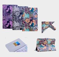 Retro Cartoon Color Printed Cute Bear With Stand Flip Card Slot Phone Cases For iPad Mini iPad Mini With Retina Display