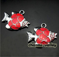 50pcs/lot! Red fish shape hang charm fit DIY 8mm wristband necklace pendant accessories free shipping