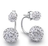 F08448 Bling CZ Diamond Lucky Ball Design Ear Stud Earrings Best Gift for Woman + Freeship