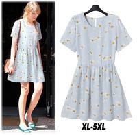 New Loose Plus Size Women Summer Dress 2014 Print Flower Style Short Sleeve Party Dresses Desigual Vestidos Chiffon Casual Dress