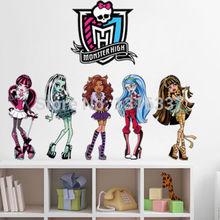 Monster High Cartoon Mural Wall Sticker Vinyl Decal Children Kids Room Decor DIY(China (Mainland))