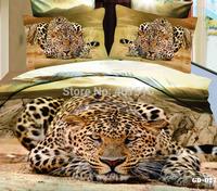Fashion 100% Cotton 3D Leopard Printed Comforter Bedding Sets Duvet Cover Flat Bed Sheet Pillow Cases 4 Pcs King Size