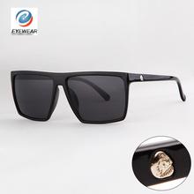 Brand New 2014 Steampunk Square Sunglasses Men SKULL Logo All Black Coating Glasses Women Retro gafas de sol(China