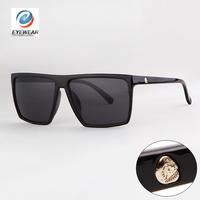 Brand New 2014 Steampunk Square Sunglasses Men SKULL Logo All Black Coating Glasses Women Retro gafas de sol