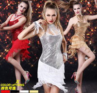 2014 Summer New Sequins Stages Nightclub Bar Lady DS Costumes Pole Dance Latin Women Dance Costumes, Tassel Prom Dresses 321