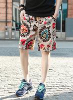 Summer male shorts vintage flower slim shorts male knee-length casual beach shorts mens shorts