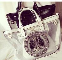 2014 bag for woman rivet hearts screen transparent beach buns shoulder handbag