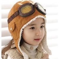 Free Shipping Winter New 2014 Brand Children Pilot Hats Baby Earflap Caps&Hats  Girls Boys Warm Hat Kids Flight Cap XHM054