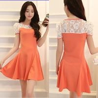 Free Shipping 2014 new lace openwork stitching was thin summer dress the lady dresses women Sau San