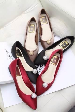 Free shipping satin wedding lady shoes Navy/ Black/ Beige/ Red leisure women flats fashion ballerina pointed toe(China (Mainland))