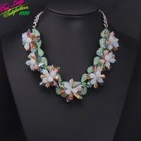 2014 New Arrival Fashion Statement Shourouk ZA Green Brand Luxury Gem Vintage Crystal Clear Bib Beads Collar Necklace 8775