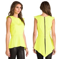 2014 lemon yellow swallowtail asymmetrical hem sleeveless slim chiffon shirt for wholesale and free shipping haoduoyi