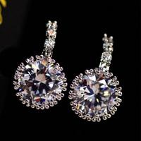 2014 new Round Stud Korean earringS CZ Diamond Earring Studs Earrings Jewelry High quality zircon stud earrings 1DOZEN=12PCS