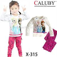 Retail baby girls frozen Anna Elsa long sleeve 100% cotton pyjamas set kids pajamas sleepwear/nightgown/home wear
