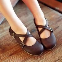 No profit sell! 2014 Hansenne vintage cute round toe flat heel shoes princess shoes single shoes flat spring  women's shoes
