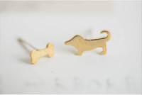 Fashion Lovely dog and bone stud earrings  wholesale free shipping