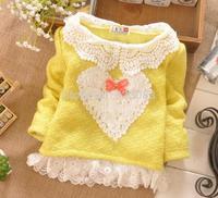 Baby casual girls sweater 2014 heart fashion lace baby girl sweater roupas de bebe 4pcs/lot free shipping