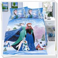 Frozen Bedding Single/Double Quilt/Doona Cover Pillow Case Bed Set Linen Bedding Set Hot Seller 100% Cotton Elsa Anna Bedding