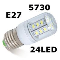 Drop shipping E27 SMD 5730 LED corn bulb lamp, 220V 24 LEDs,Warm white /white,LED book light 5730 E27 LED light,free shipping